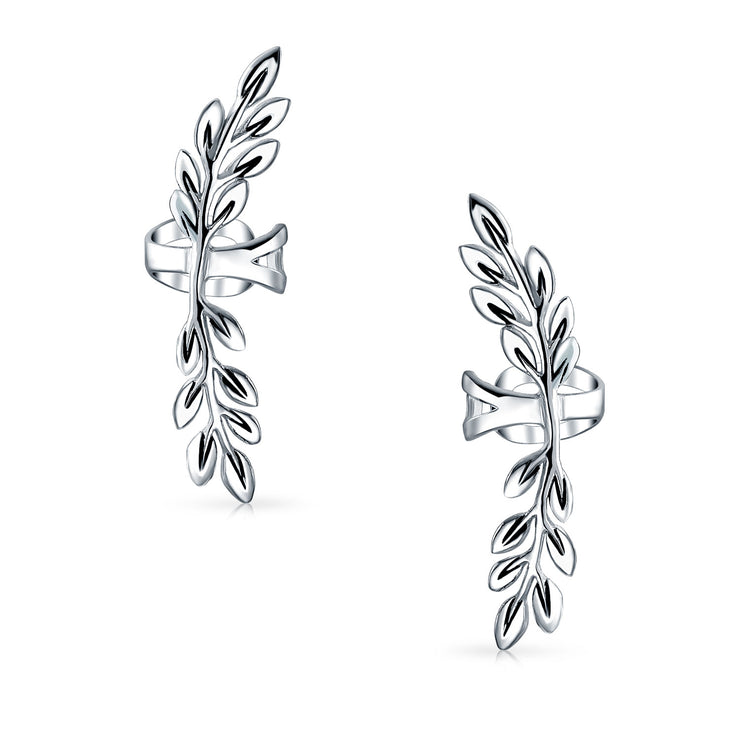 Laurel Leaf Cartilage Ear Cuffs Clip Helix Earrings Sterling Silver