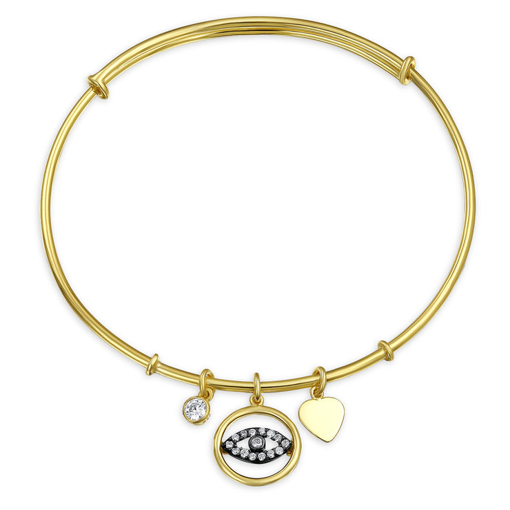 Evil Eye Heart Charm Bangle Bracelet CZ Gold Plated Sterling Silver
