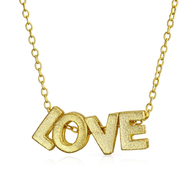 Expressions Pendant Necklace Letters Gold Plated Sterling Silver