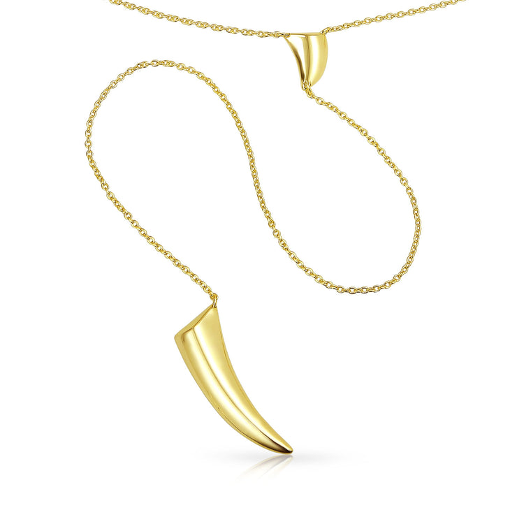 Horn Tooth Choker Lariat Pendant Gold Plated Sterling Y Necklace