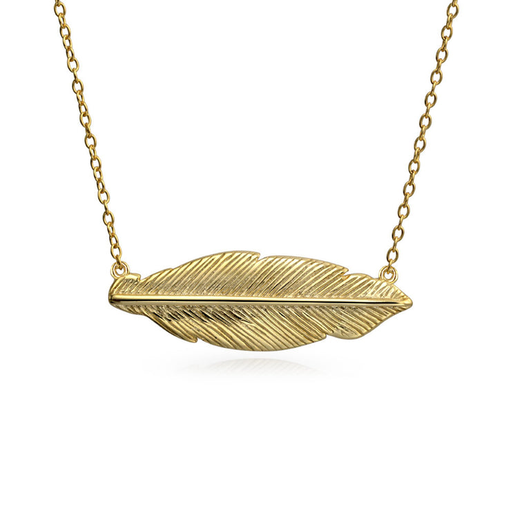 Feather Leaf Sideways Pendant Gold Plated Sterling Silver Necklace