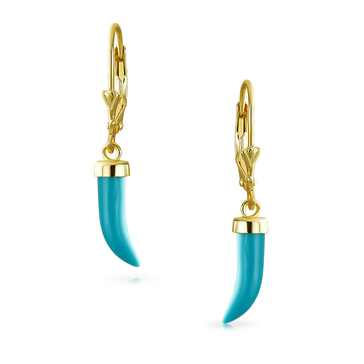 Horn Tooth Turquoise Dangle Earrings Gold Plated Sterling Silver