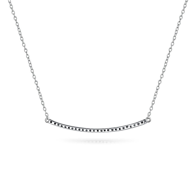 Curved Pave CZ Sideway Horizontal Bar Pendant Necklace Sterling Silver