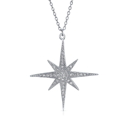 Celestial 8 Point Star North Star Burst Pendant Necklace CZ Sterling
