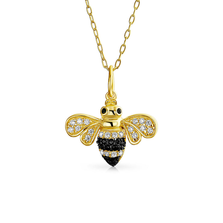 Bumble Bee Queen Bee Golden Black Pendant Necklace Gold Plated