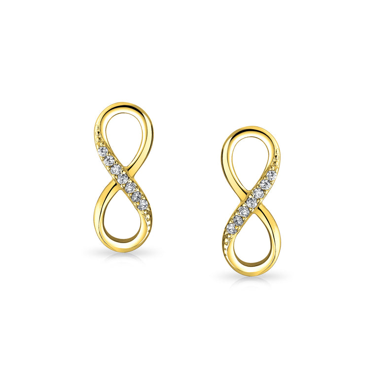 CZ Infinity Eternity Stud Earrings Gold Plated Sterling Silver