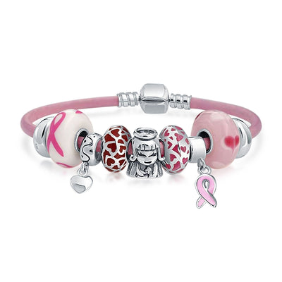 Breast Cancer Survivor Pink Charms Bracelet Leather Sterling Silver