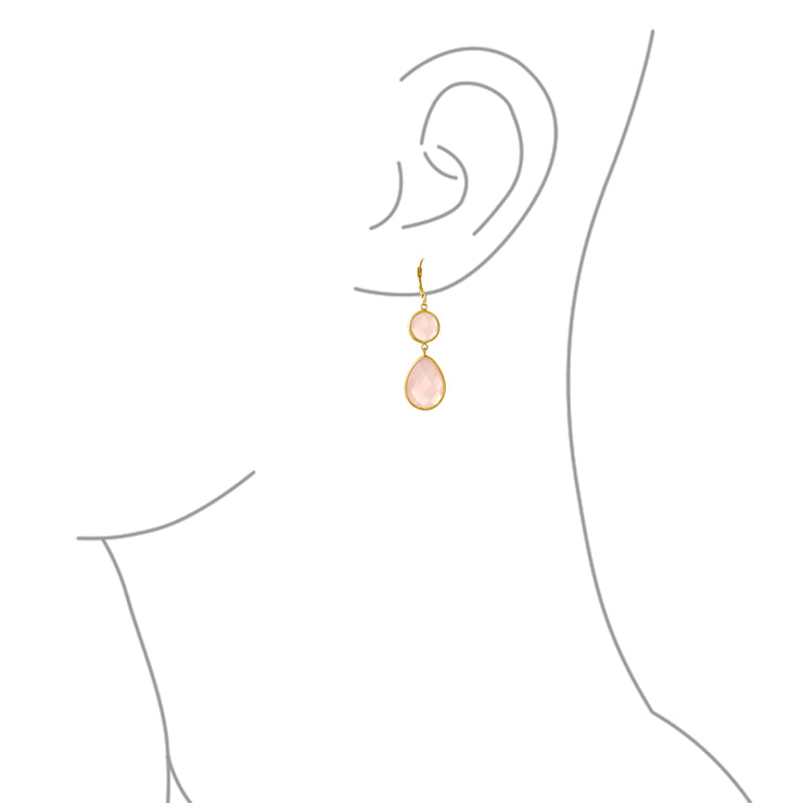 Pink Teardrop Dangle Earring Chalcedony Quartz Gold Plated Silver