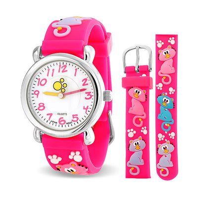 Kitten Pet Paw Print Waterproof Wrist Watch Quartz 3D Pink Silicone