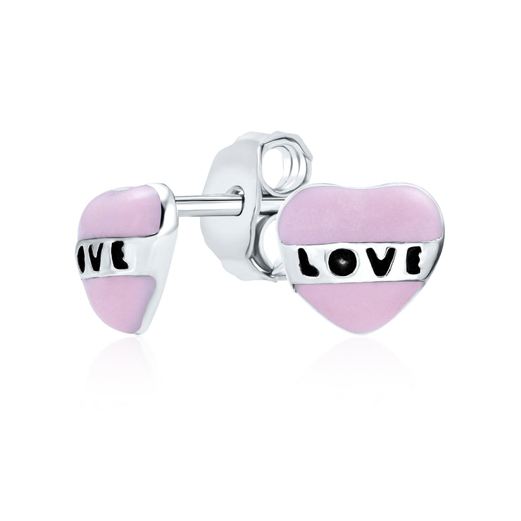 Tiny Pink Enamel Word LOVE Heart Shape Stud Earrings Sterling Silver