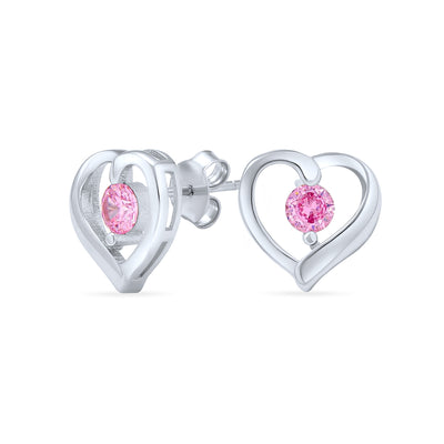 Heart Pink Solitaire Round CZ Stud Earrings Sterling Silver Pink Topaz
