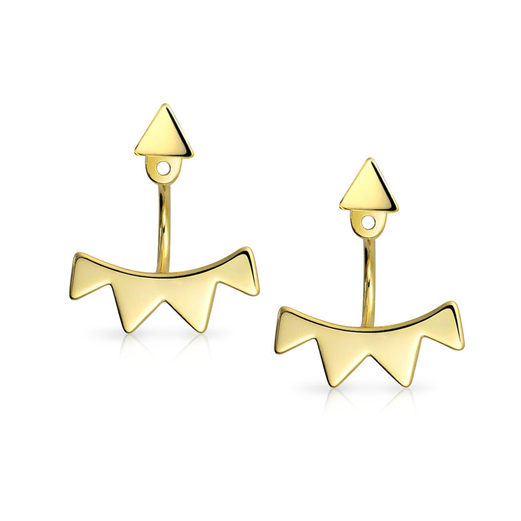 Triangle Ear Jacket Earrings Gold Plated Sterling Silver