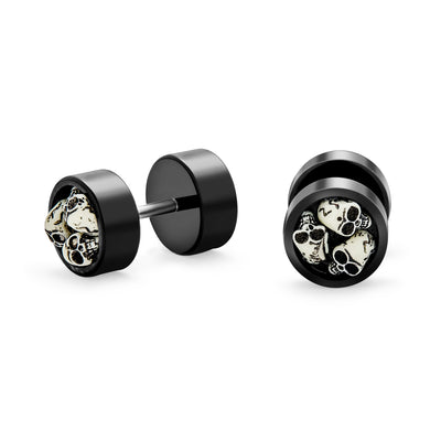 Biker Goth Skulls Black Cheater Faux Plugs Earring Stainless Steel
