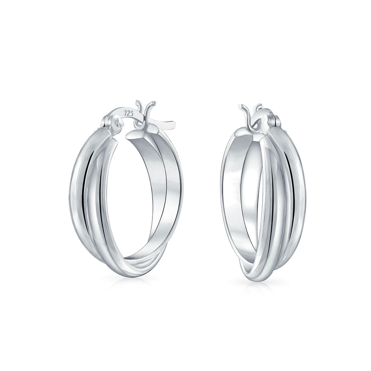 Double Twist Stationary Hoop Earrings 925 Sterling Silver 84 Inch Dia