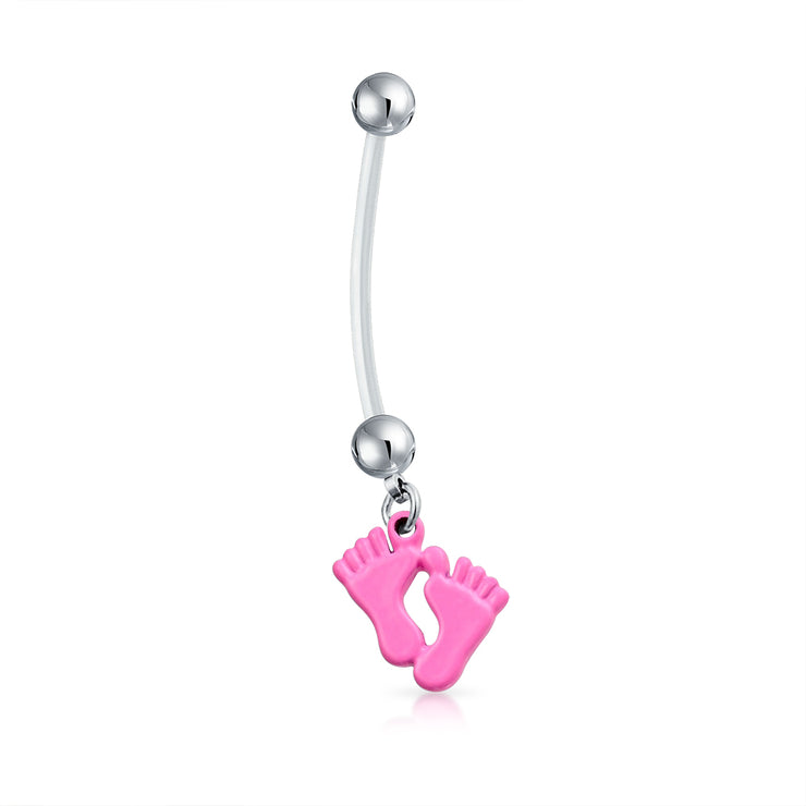 Mother to Be Pink Feet Bar Ball Style Navel Belly Ring Surgical Steel