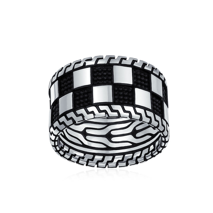 Mens Two Tone Black Silver Check Board Ring Band Solid 925 Silver
