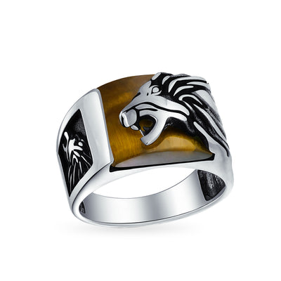 Mens Gemstone Brown Tiger Eye Lion Ring Solid 925 Sterling Silver