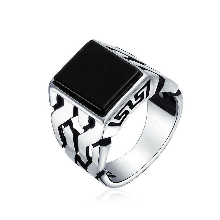 Cuban Curb Link Chain Black Onyx Square Signet Ring Sterling Silver