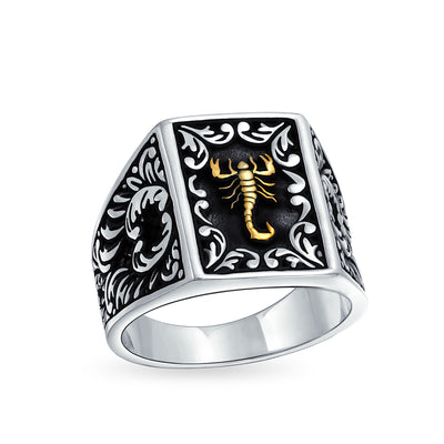 Mens Zodiac Scorpion Signet Ring Solid Black 14K Gold Plate 925 Silver