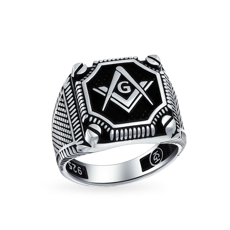 Mens Black Onyx Inlay Freemason Masonic Signet Ring Solid 925 Silver