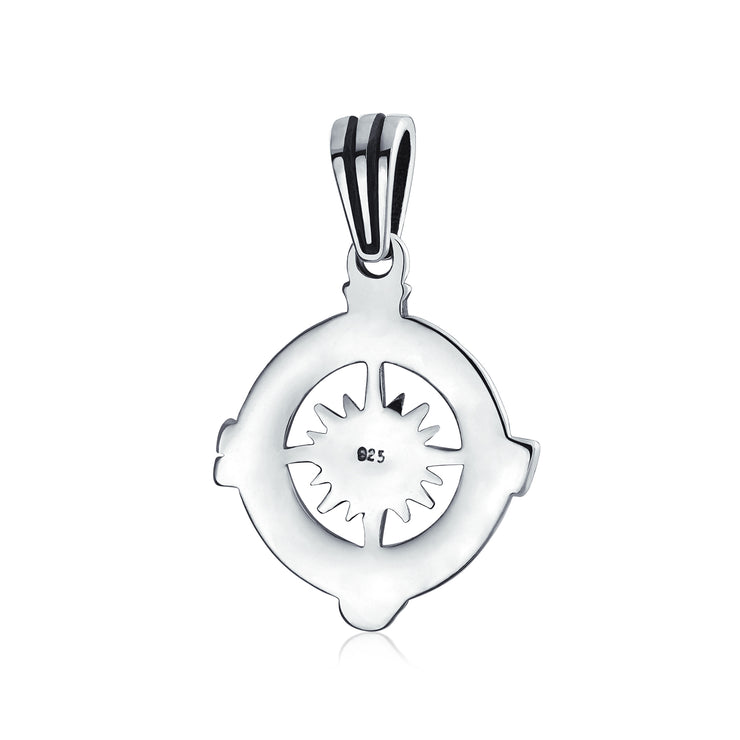 Round Rose Compass Explorer Travel Pendant Necklace Sterling Silver