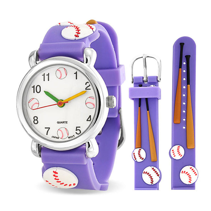 Baseball Bat Sports Waterproof Wrist Watch Quartz 3D Purple Silicone