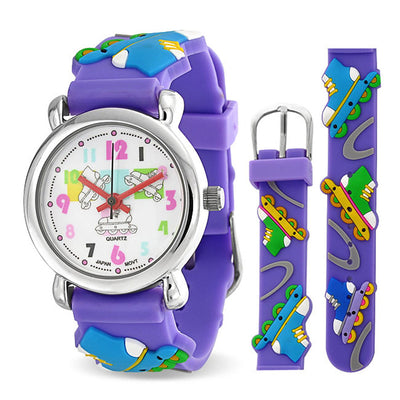 Roller Blade Sports Waterproof Wrist Watch Quartz 3D Purple Silicone
