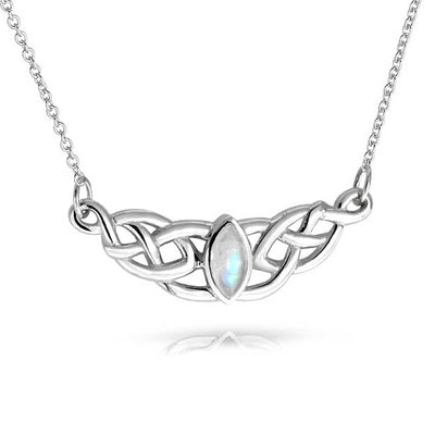Moonstone Celtic Trinity Love Knot Pendant Sterling Silver Necklace