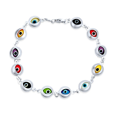 Turkish Colorful Multi Color Evil Eye Bracelet 925 Sterling Silver