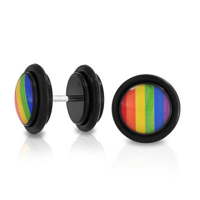 LGBT Rainbow Gay Pride Faux Plugs Earring For Unisex Stainless Steel
