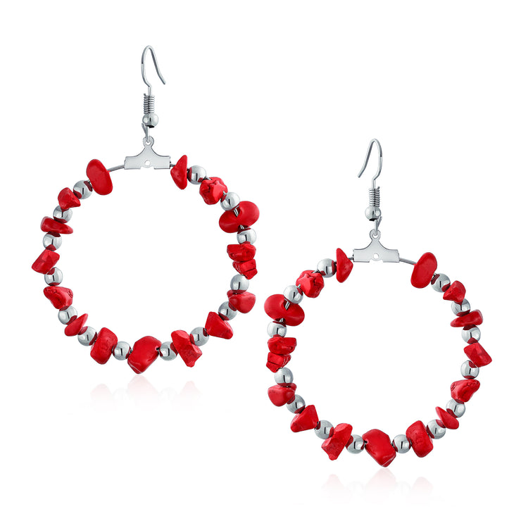 Red Turquoise Chip Circle Round Hoop Earrings Silver Tone Plated