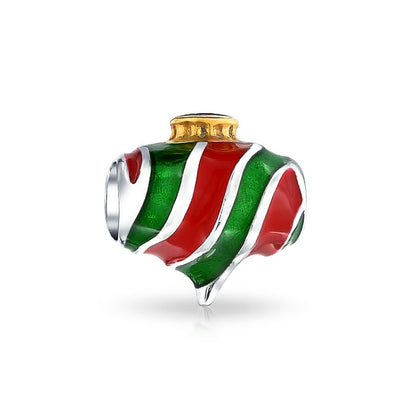 Christmas Red Green Striped Ornate Charm Bead Sterling Silver Bracelet