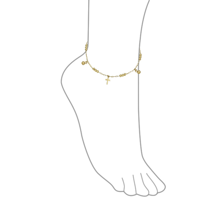 Multi Crosses Religious Beads Bells Dangle Charm Anklet Gold Plated
