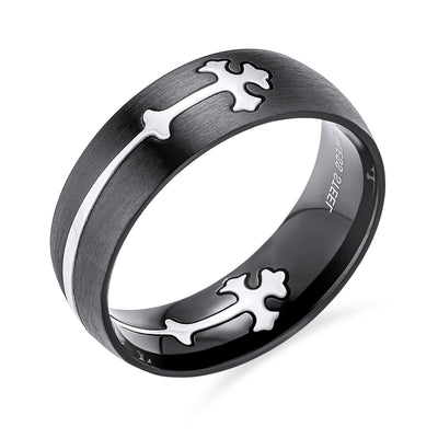 Men Maltase Fleur De Lis Cross Black Wedding Band Ring Stainless Steel