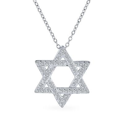 Star David Magen Je Pendant Intertwined CZ Necklace Sterling Silver