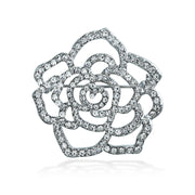 Rose Flower Shape Pave Crystal Wedding Brooch Pin Silver Plated Brass