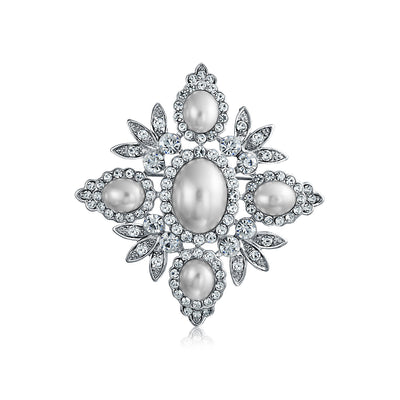 Bridal Leaf Pendant Brooch Pin Crystal Pearl Rhodium Plated Alloy