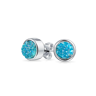 Teal Geode Studs
