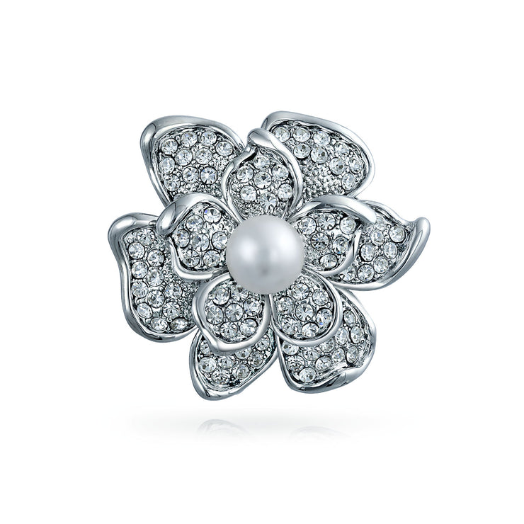 Bridal Rose Flower Brooch Pin Crystal Pearl Rhodium Plated Alloy