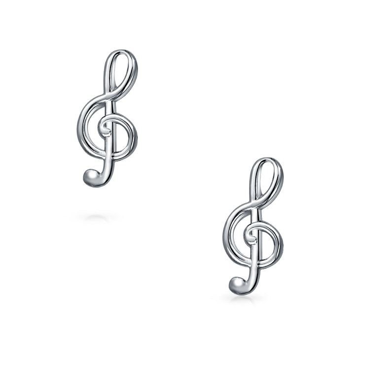 Musician G Clef Treble Music Note Cufflinks Silver Tone