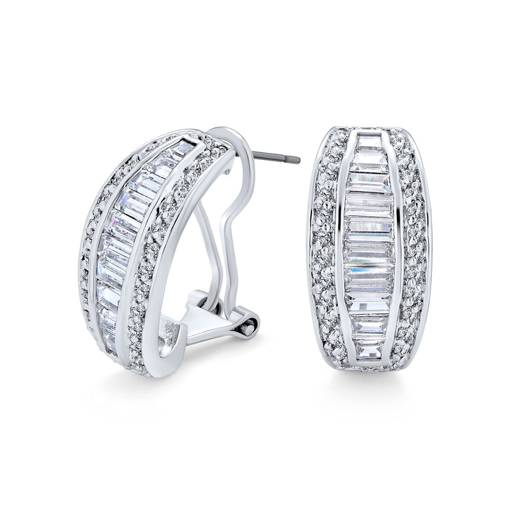 Bridal Baguette CZ Half Hoop Earrings Omega Back Clip Silver Plated
