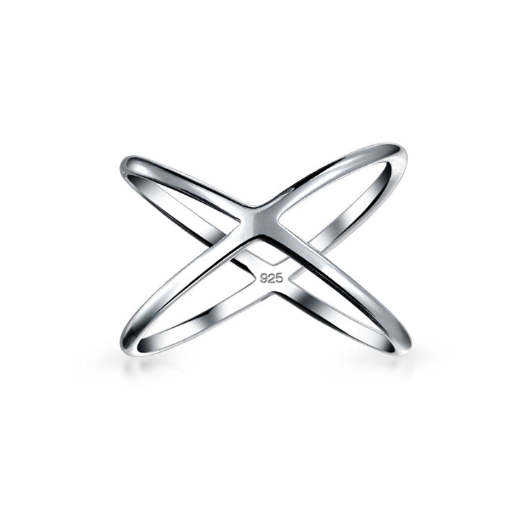 Simple Geometric Atomic X Cris Cross Ring For Teen 925 Sterling Silver