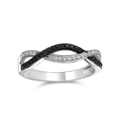 Two Tone Black and White CZ Infinity Band Ring 925 Sterling Silver
