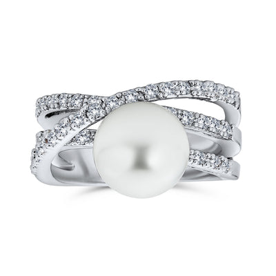 Criss Cross Pave CZ Solitaire White Imitation Pearl Statement Ring