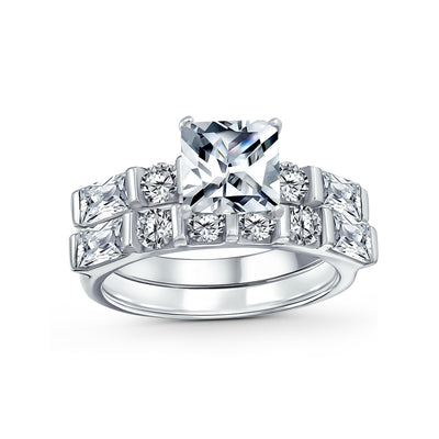 2CT Princess Cut Solitaire AAA CZ Engagement Ring Set Sterling Silver
