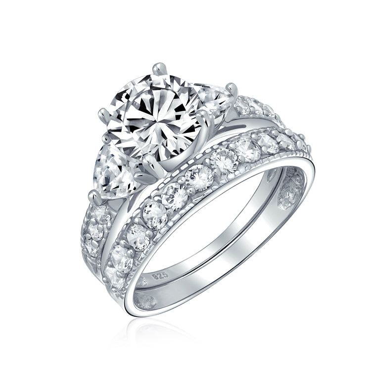 3CT Solitaire Heart AAA CZ Engagement Wedding Ring Set Sterling Silver
