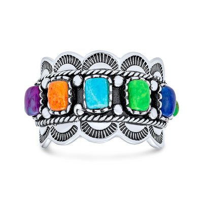 Native American Style Multi Stone Turquoise Band Ring Sterling Silver