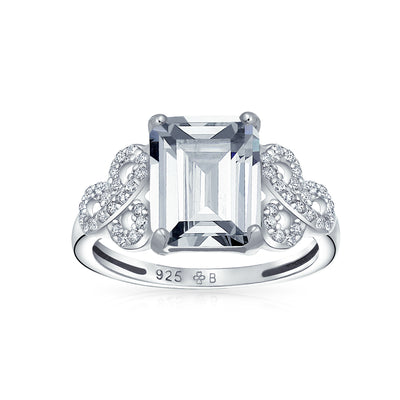 3CT Sterling AAA CZ Celtic Knot Emerald Cut Solitaire Engagement Ring
