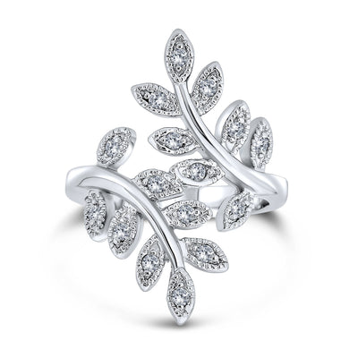 Nature Ivy Vine Leaf Ring For Women Pave CZ Bypass Silver Plated Brass