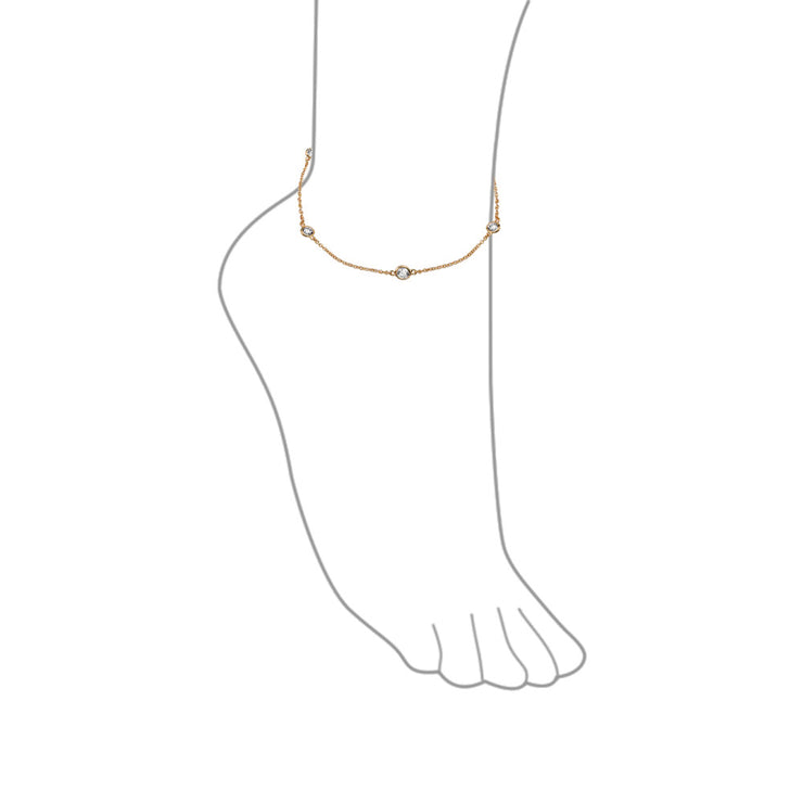 CZ By The Inch Anklet Link Station Rose Gold Plate Sterling Silver